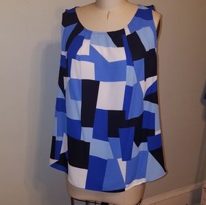Sleeveless Blue & White Abstract Top